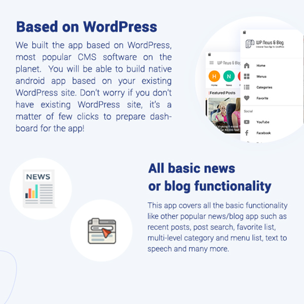 Blog and News app for WordPress Site